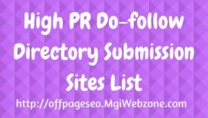 High PR Dofollow Directory Submission Sites List 2020