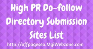 High PR Dofollow Directory Submission Sites List