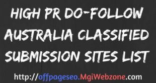 High PR DoFollow Australia Classified Submission Sites List
