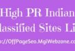 High PR Indian Classified Sites List