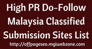 High PR Malaysia Classified Submission Sites List
