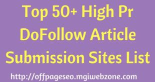 High Pr DoFollow Article Submission Sites List
